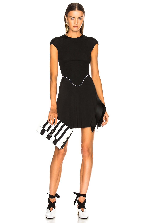 Image 6 of Proenza Schouler Small Knit Stripe Lunch Bag in Black & Ecru