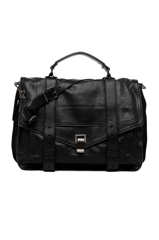 Proenza Schouler Ps1 Medium Grained Leather Satchel, Black