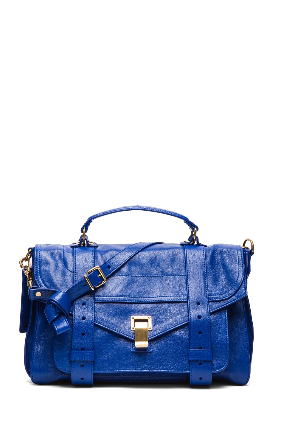 Image 1 of Proenza Schouler Medium PS1 Leather Satchel in Royal Blue