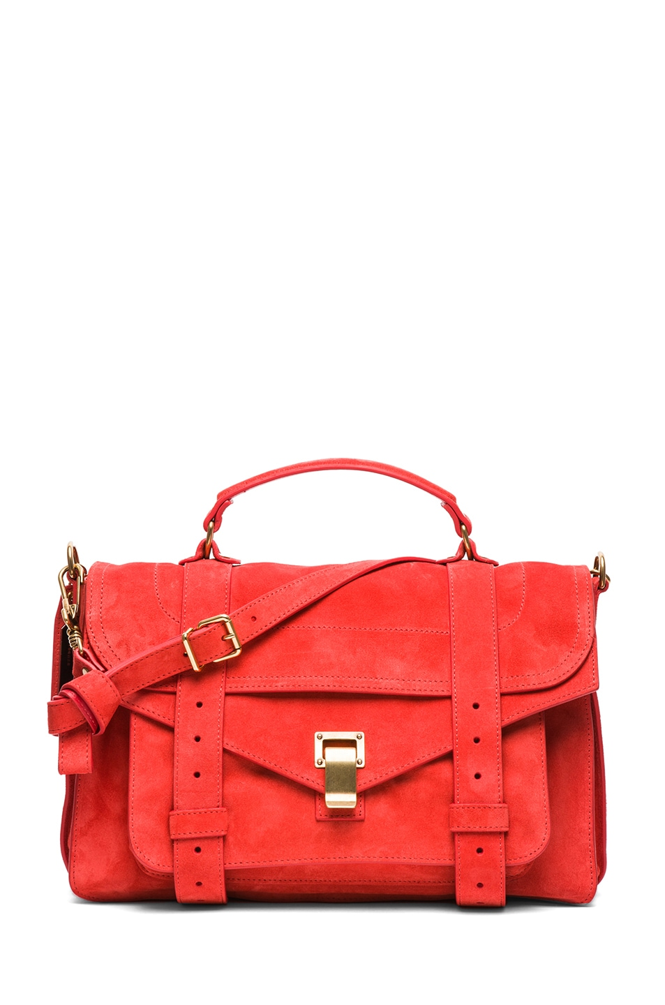 Image 1 of Proenza Schouler Medium PS1 Suede Satchel in Poppy