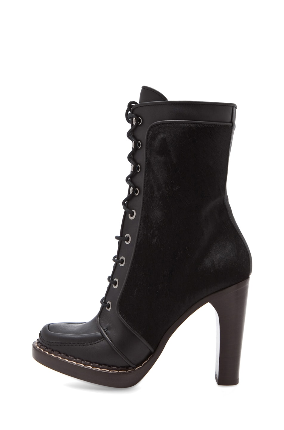 Image 1 of Proenza Schouler Runway Boot with Fur Panel in Black