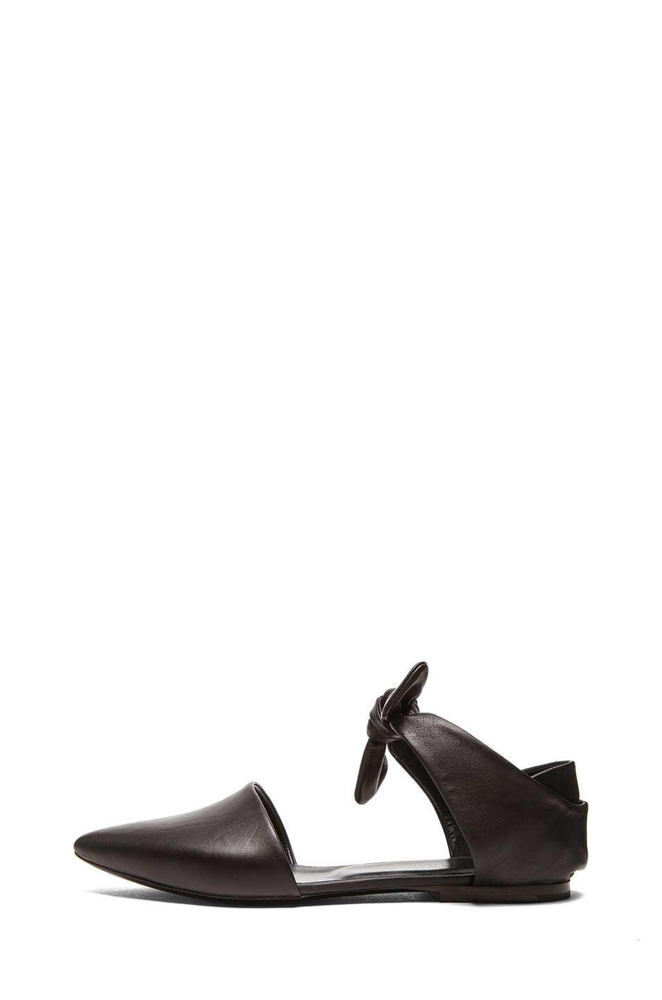 Image 1 of Proenza Schouler Leather Pointy Tie Around Flats in Black