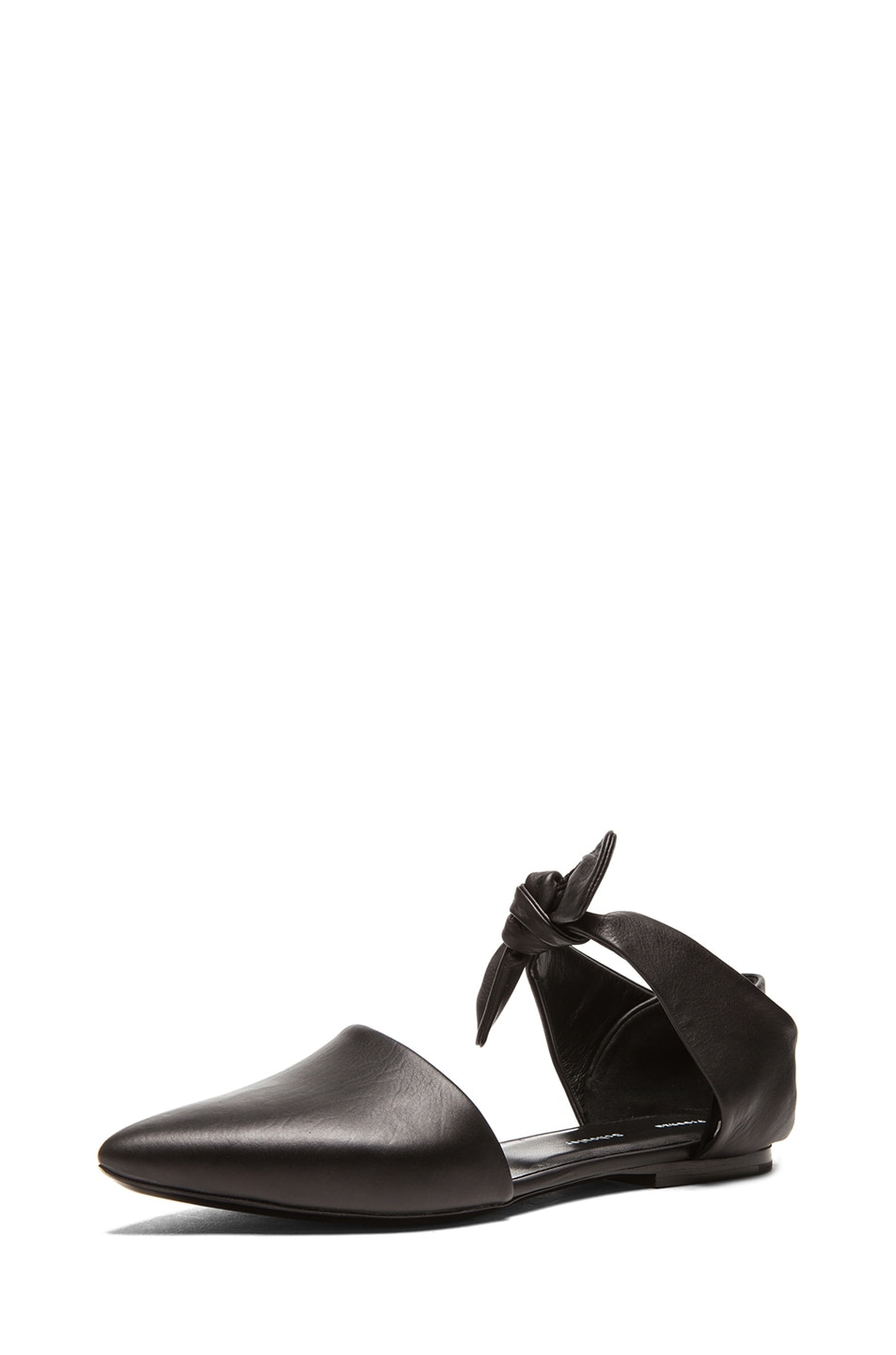 Image 2 of Proenza Schouler Leather Pointy Tie Around Flats in Black