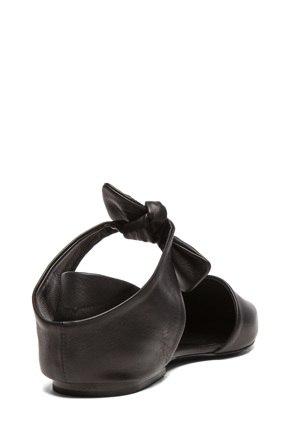 Image 3 of Proenza Schouler Leather Pointy Tie Around Flats in Black