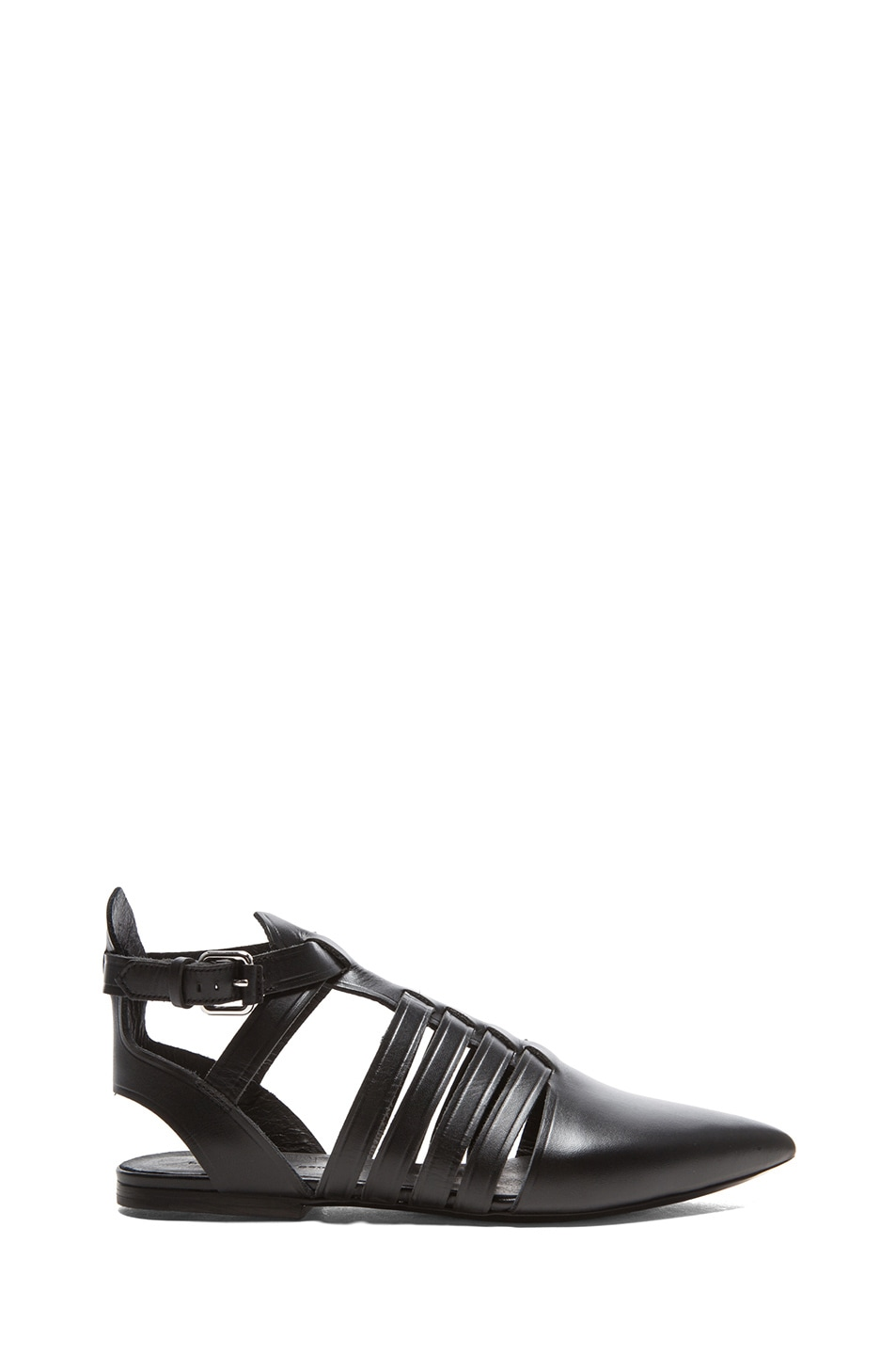 Image 1 of Proenza Schouler Pointed Toe Leather Flats in Black