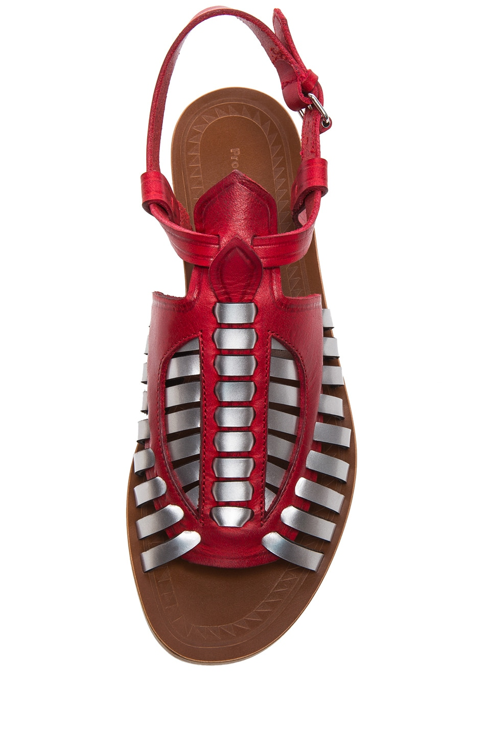 df00a7dc5707b Image 4 of Proenza Schouler Woven Leather Flat Sandals in Red   Silver