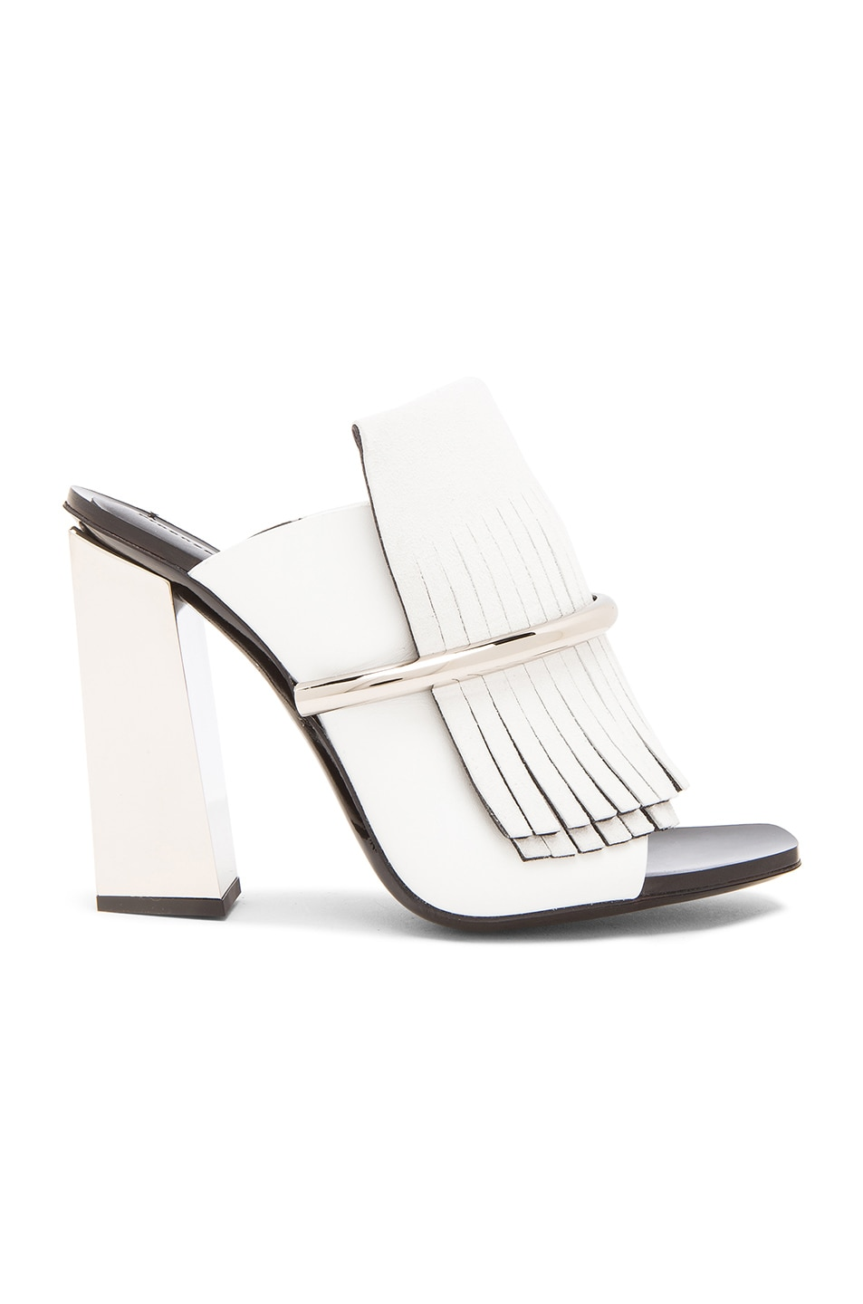 Image 1 of Proenza Schouler Leather Fringe Mules in White & Silver