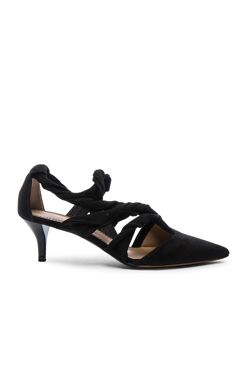 Image 1 of Proenza Schouler Suede Knotted Kitten Heels in Black