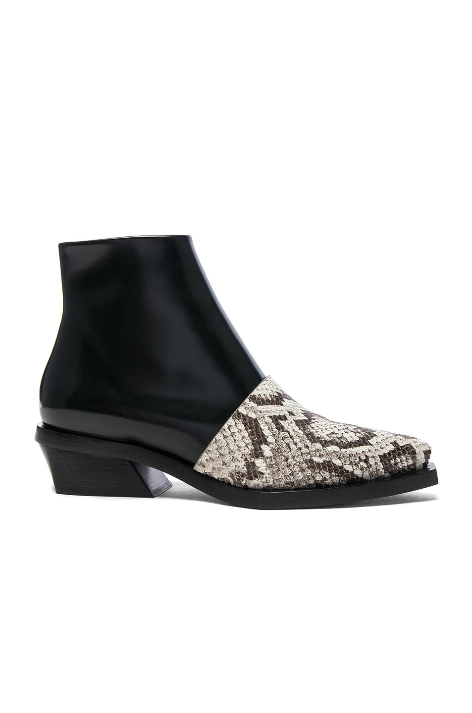 BLACK SNAKE TOE CAP 30 LEATHER ANKLE BOOTS