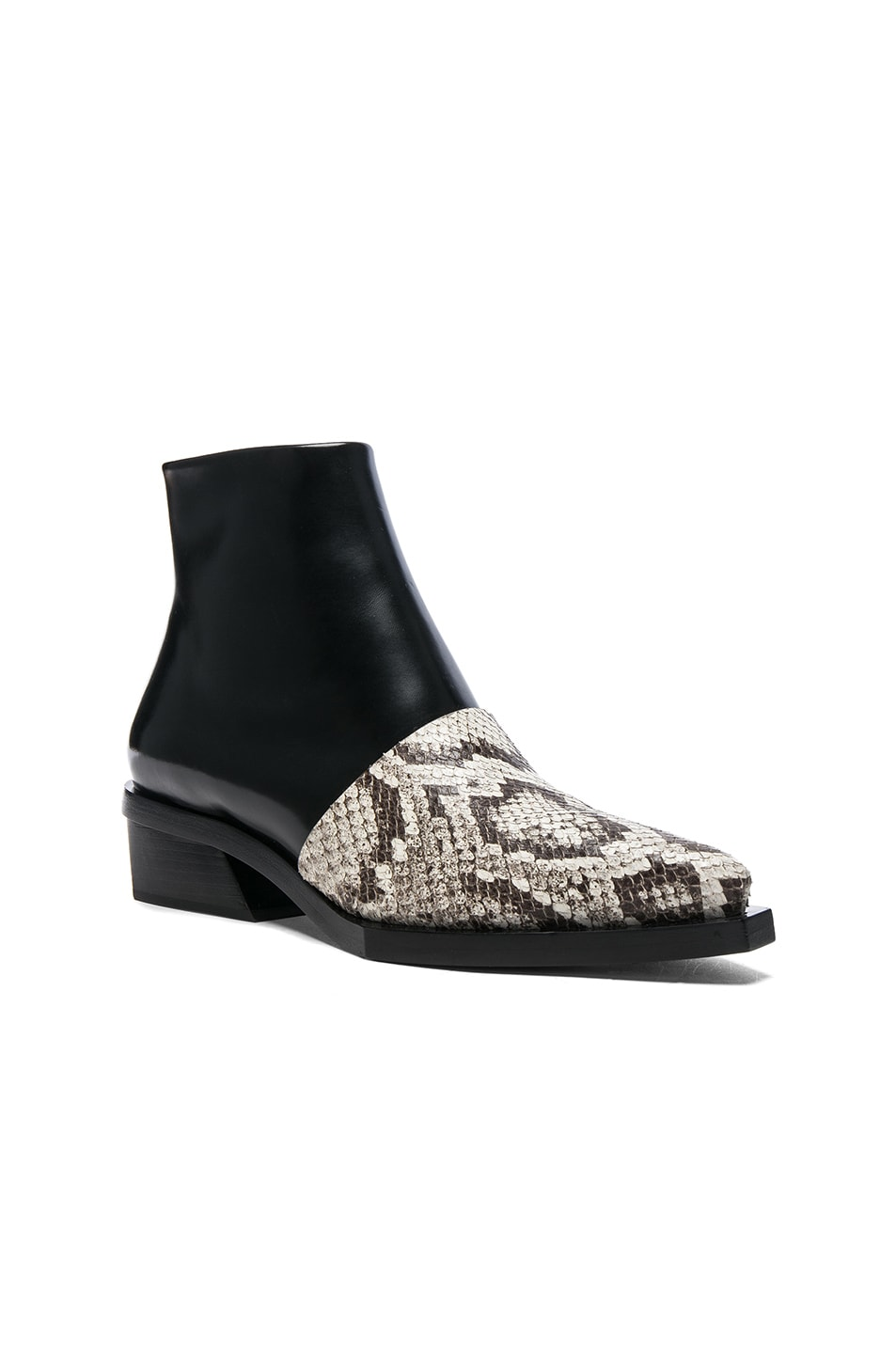 Image 2 of Proenza Schouler Leather & Snakeskin Ankle Boots in Black & Natural