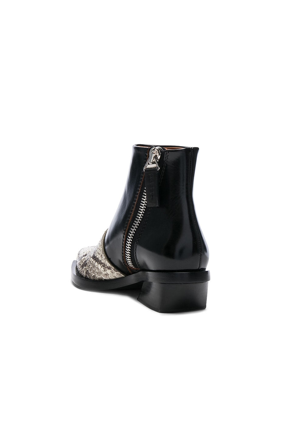Image 3 of Proenza Schouler Leather & Snakeskin Ankle Boots in Black & Natural