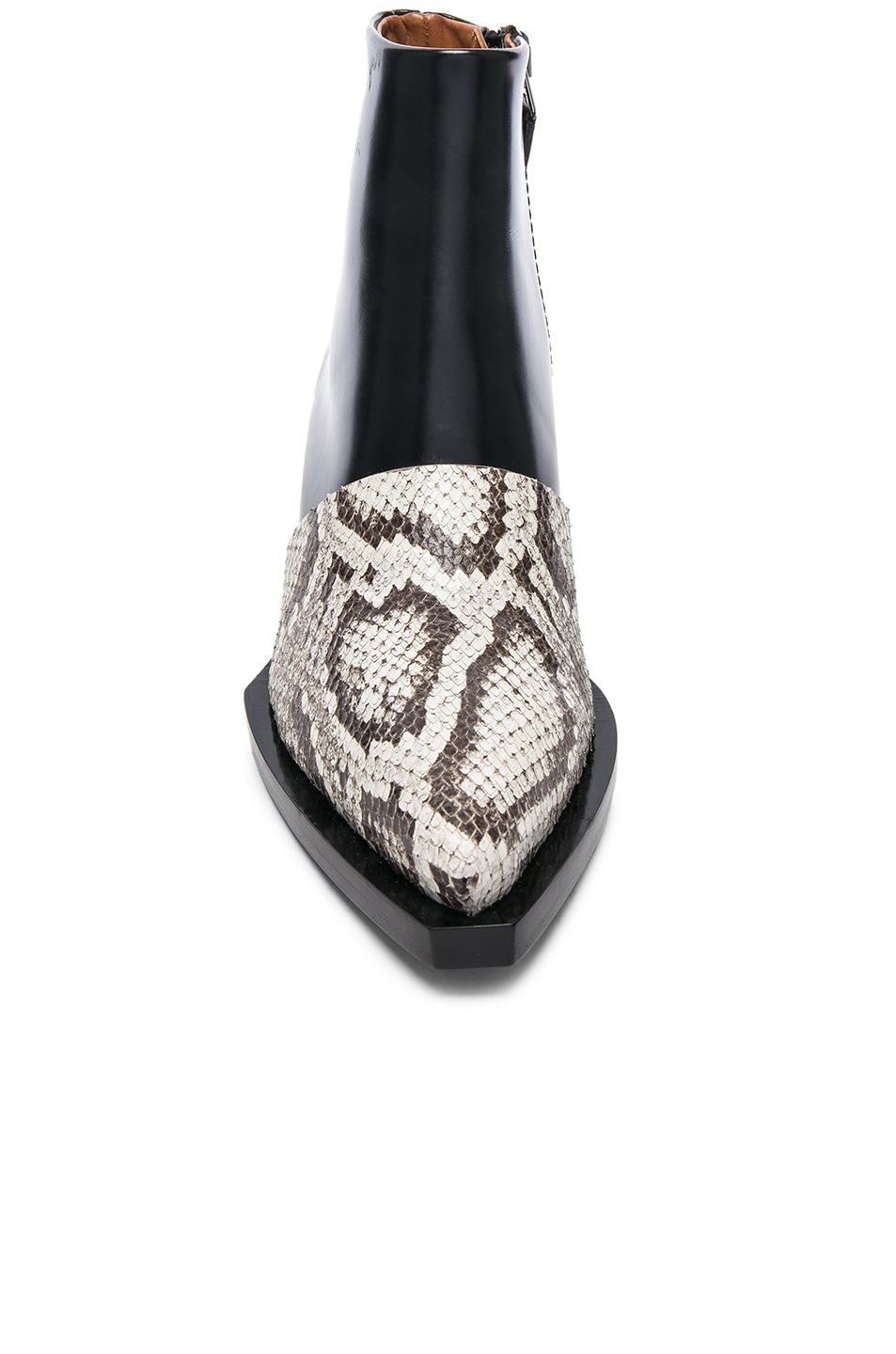 Image 4 of Proenza Schouler Leather & Snakeskin Ankle Boots in Black & Natural