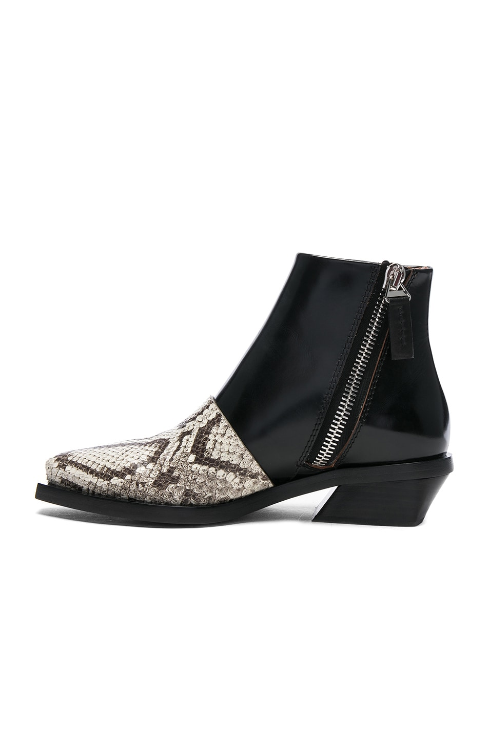 Image 5 of Proenza Schouler Leather & Snakeskin Ankle Boots in Black & Natural