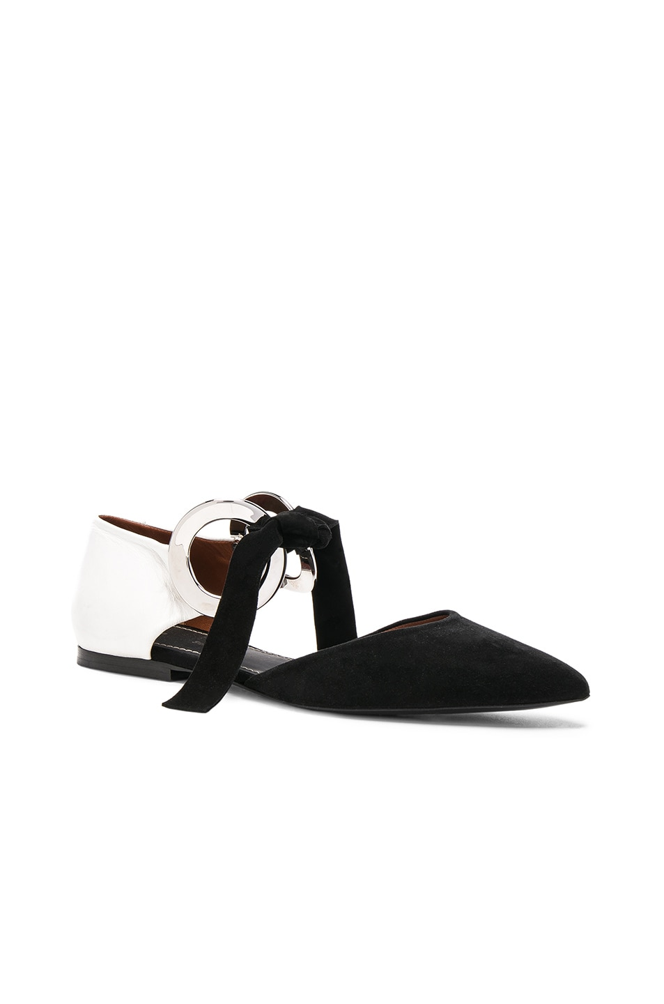 Image 2 of Proenza Schouler Suede Ankle Tie Flats in Black & White