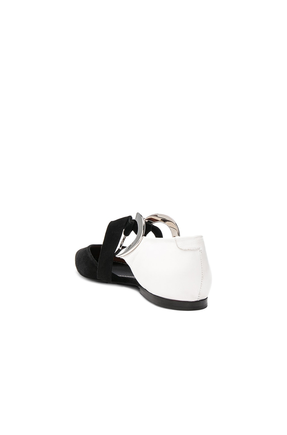 Image 3 of Proenza Schouler Suede Ankle Tie Flats in Black & White