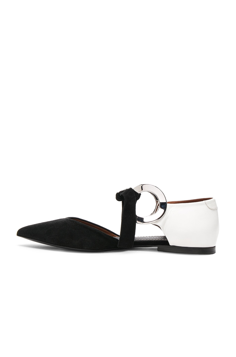 Image 5 of Proenza Schouler Suede Ankle Tie Flats in Black & White