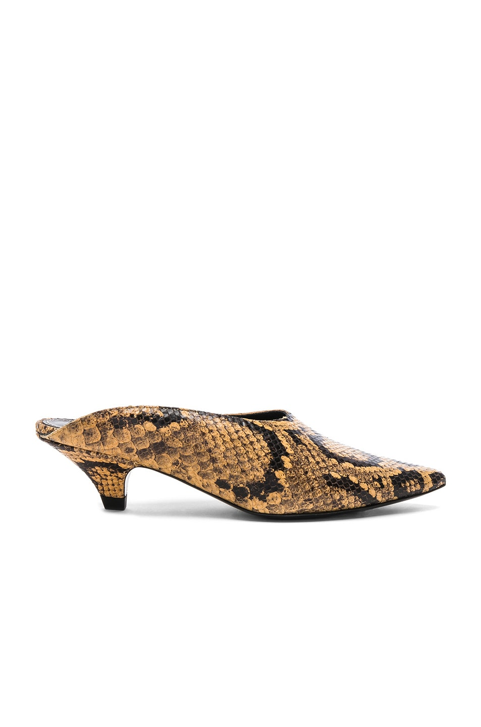Image 1 of Proenza Schouler Python Print Kitten Heel Mules in Curry