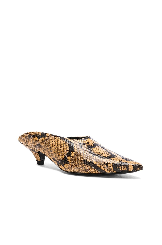 Image 2 of Proenza Schouler Python Print Kitten Heel Mules in Curry
