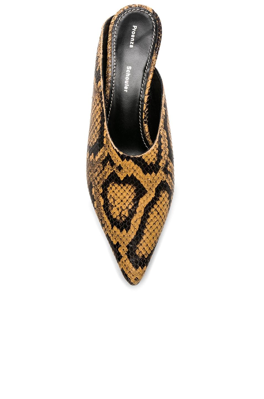 Image 4 of Proenza Schouler Python Print Kitten Heel Mules in Curry