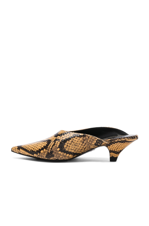 Image 5 of Proenza Schouler Python Print Kitten Heel Mules in Curry