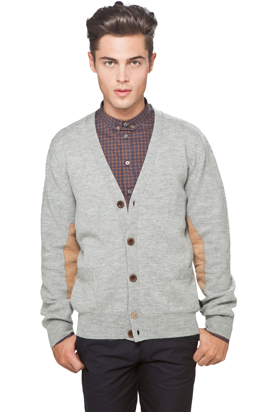 Image 1 of Paul Smith Jeans Elbow Pad Sweater in Heather Grey