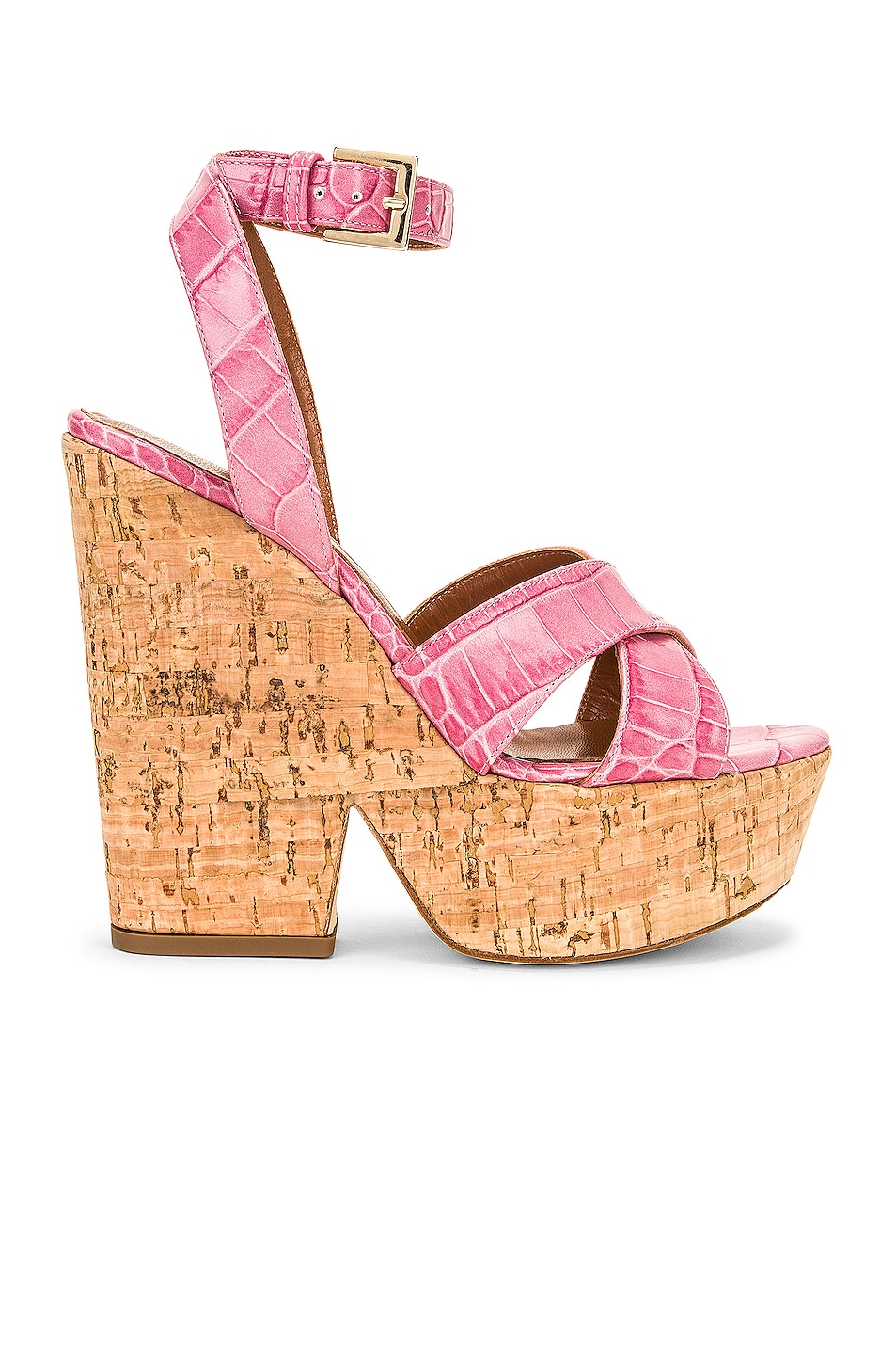 Image 1 of Paris Texas Moc Croco Disco Cork Platform in Fuchsia