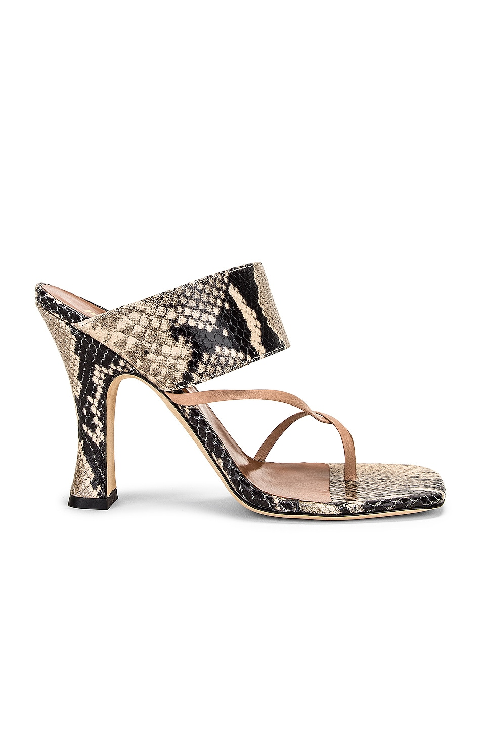 Image 1 of Paris Texas Python Print Crossover Thong Sandal in Stone & Nude