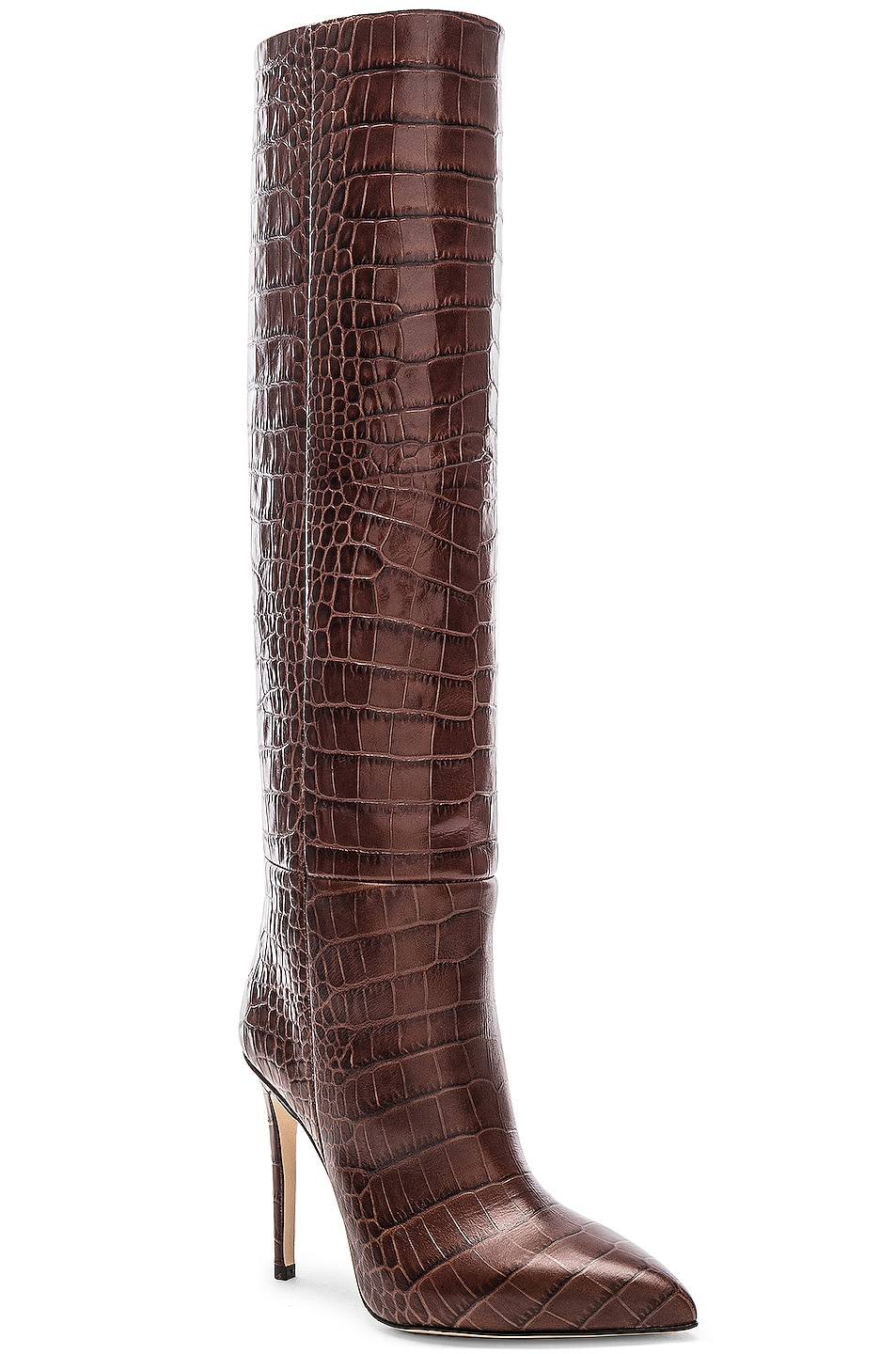 Image 2 of Paris Texas Stiletto Knee High Boot in Brown Croc