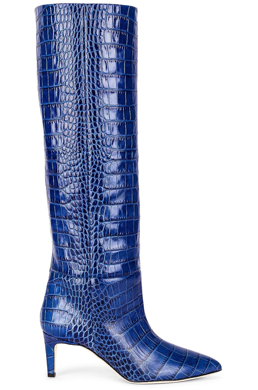 Image 1 of Paris Texas Moc Croco 60 Tall Stiletto Boot in Bluette