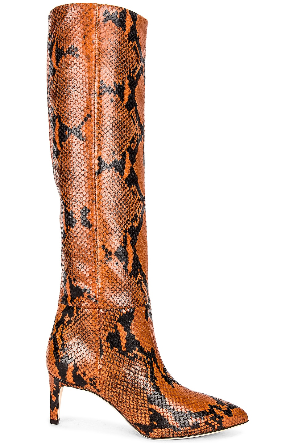 Image 1 of Paris Texas Python Print Tall Stiletto Boot in Ruggine