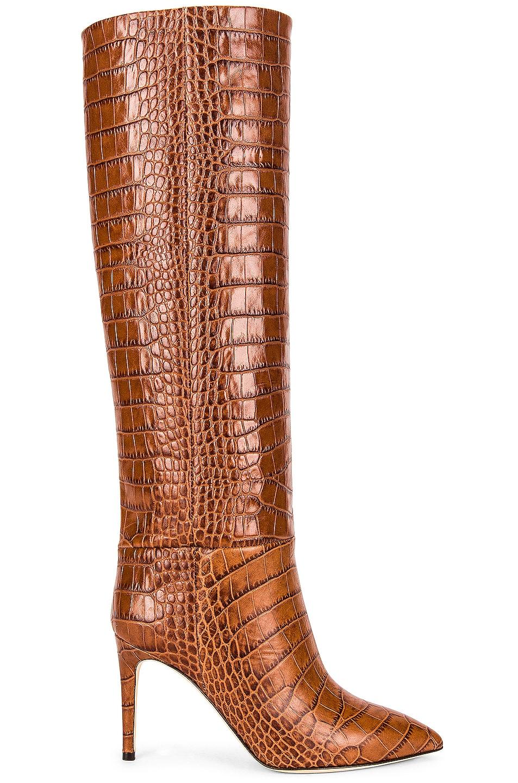 Image 1 of Paris Texas Embossed Croco 85 Stiletto Boot in Castagna