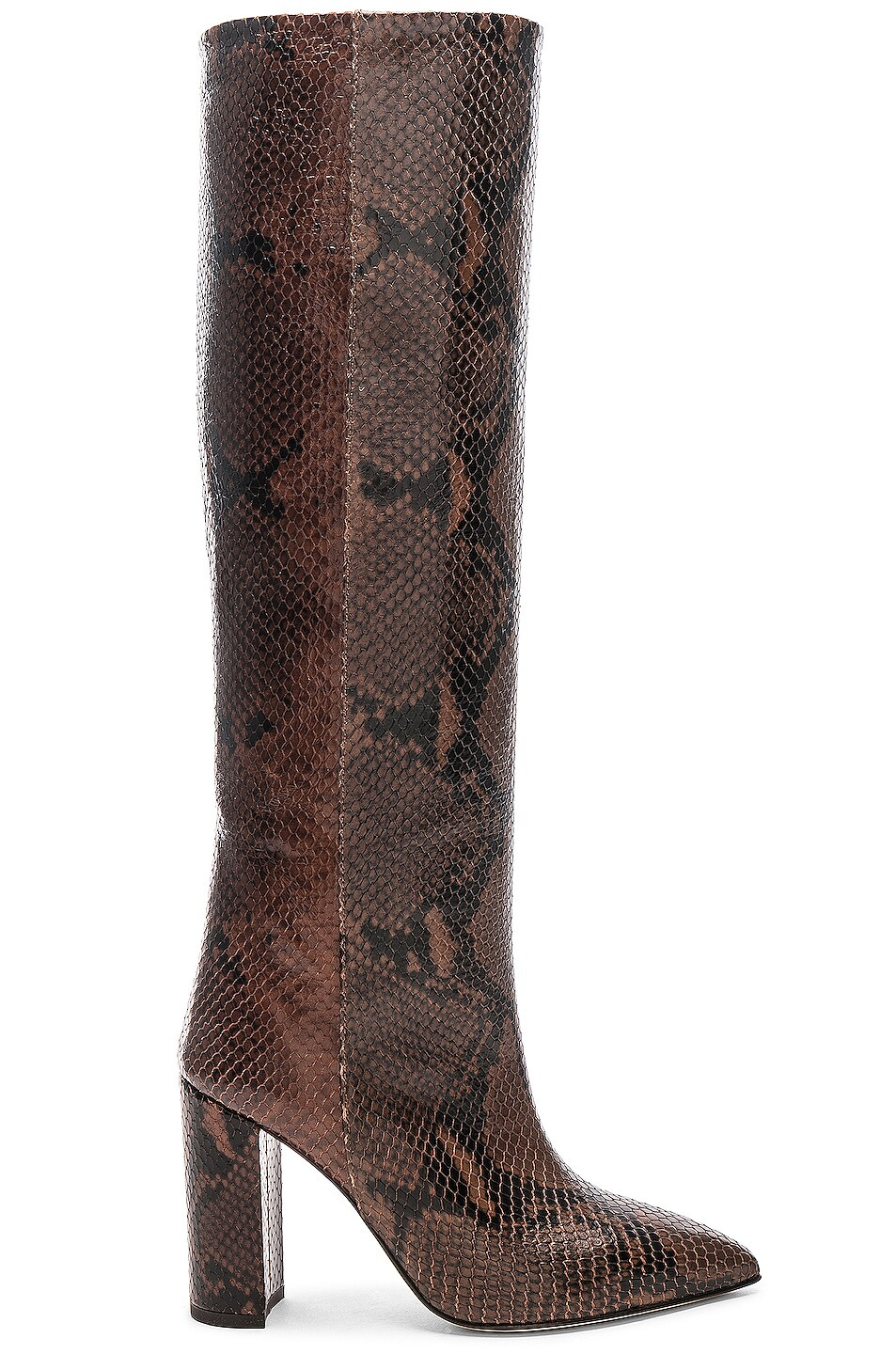 Image 1 of Paris Texas Knee High Python Print Boot in Dark Brown
