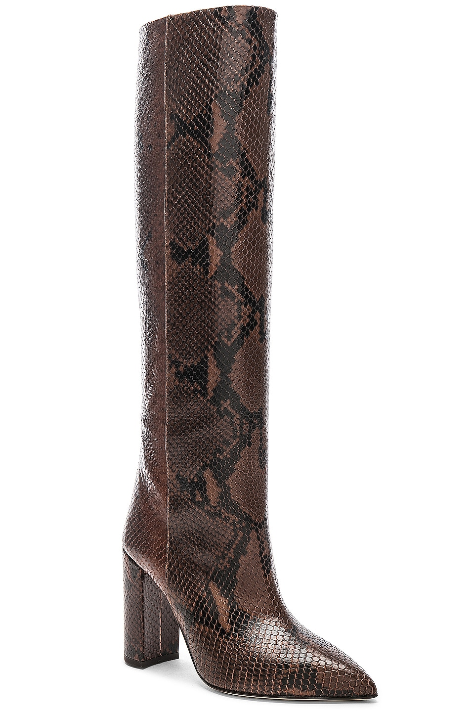 Image 2 of Paris Texas Knee High Python Print Boot in Dark Brown