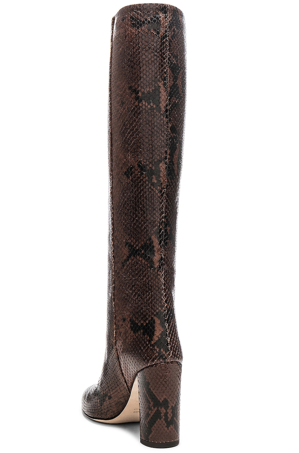 Image 3 of Paris Texas Knee High Python Print Boot in Dark Brown