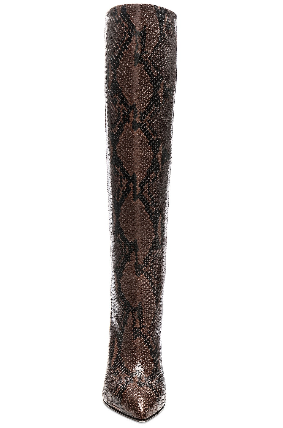 Image 4 of Paris Texas Knee High Python Print Boot in Dark Brown