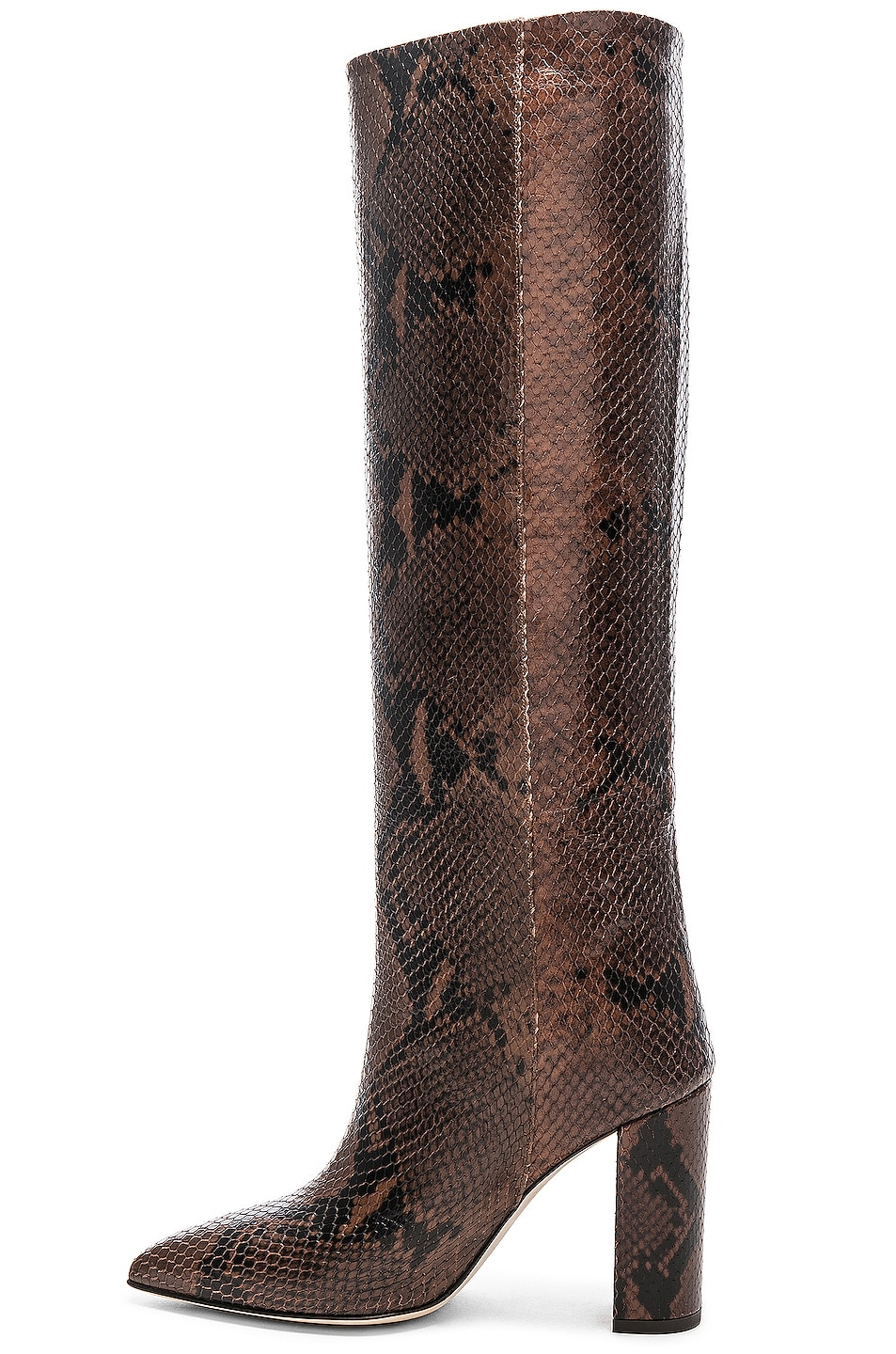 Image 5 of Paris Texas Knee High Python Print Boot in Dark Brown