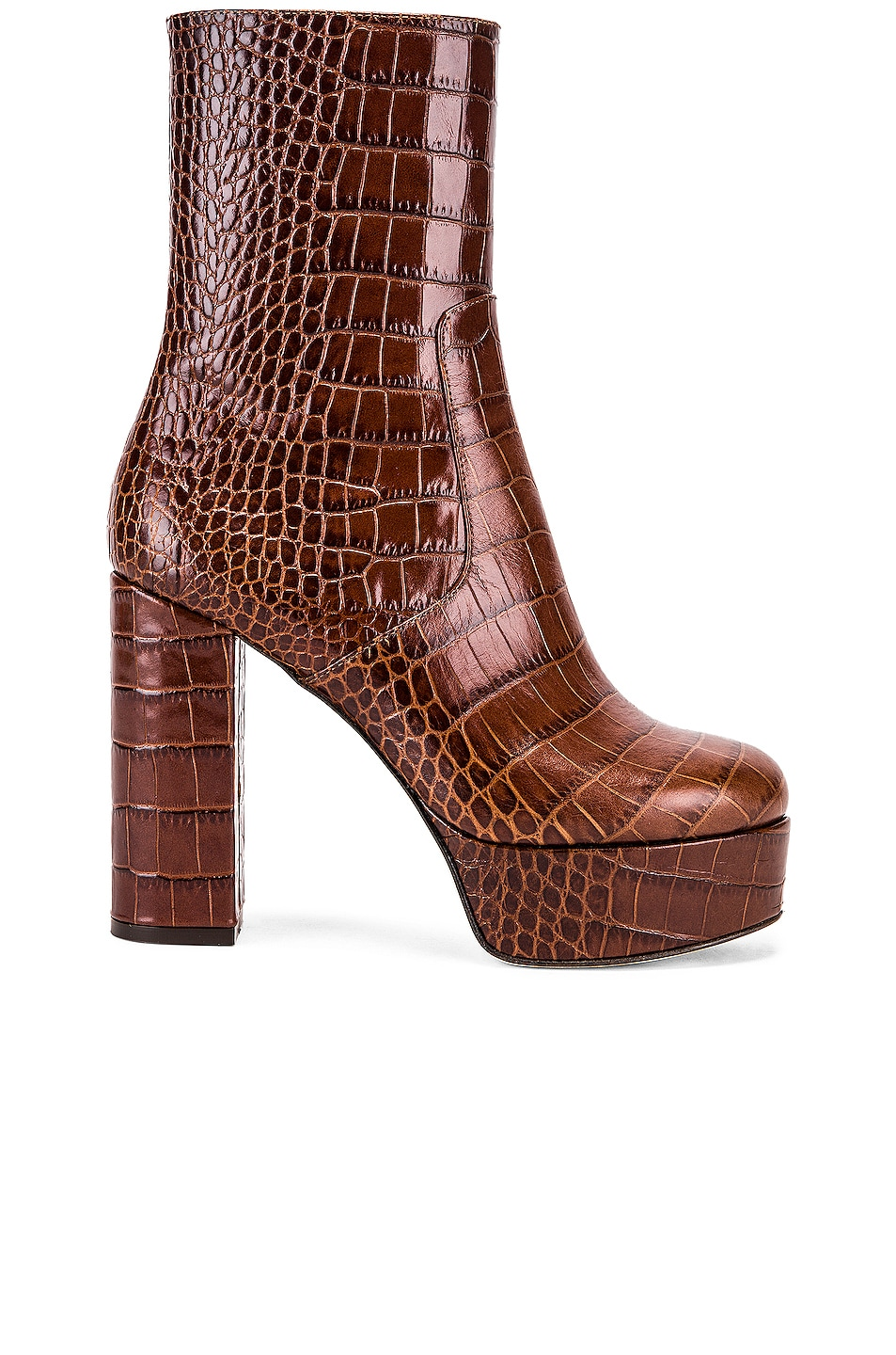 Image 1 of Paris Texas Moc Croco Platform Ankle Boots in Brown