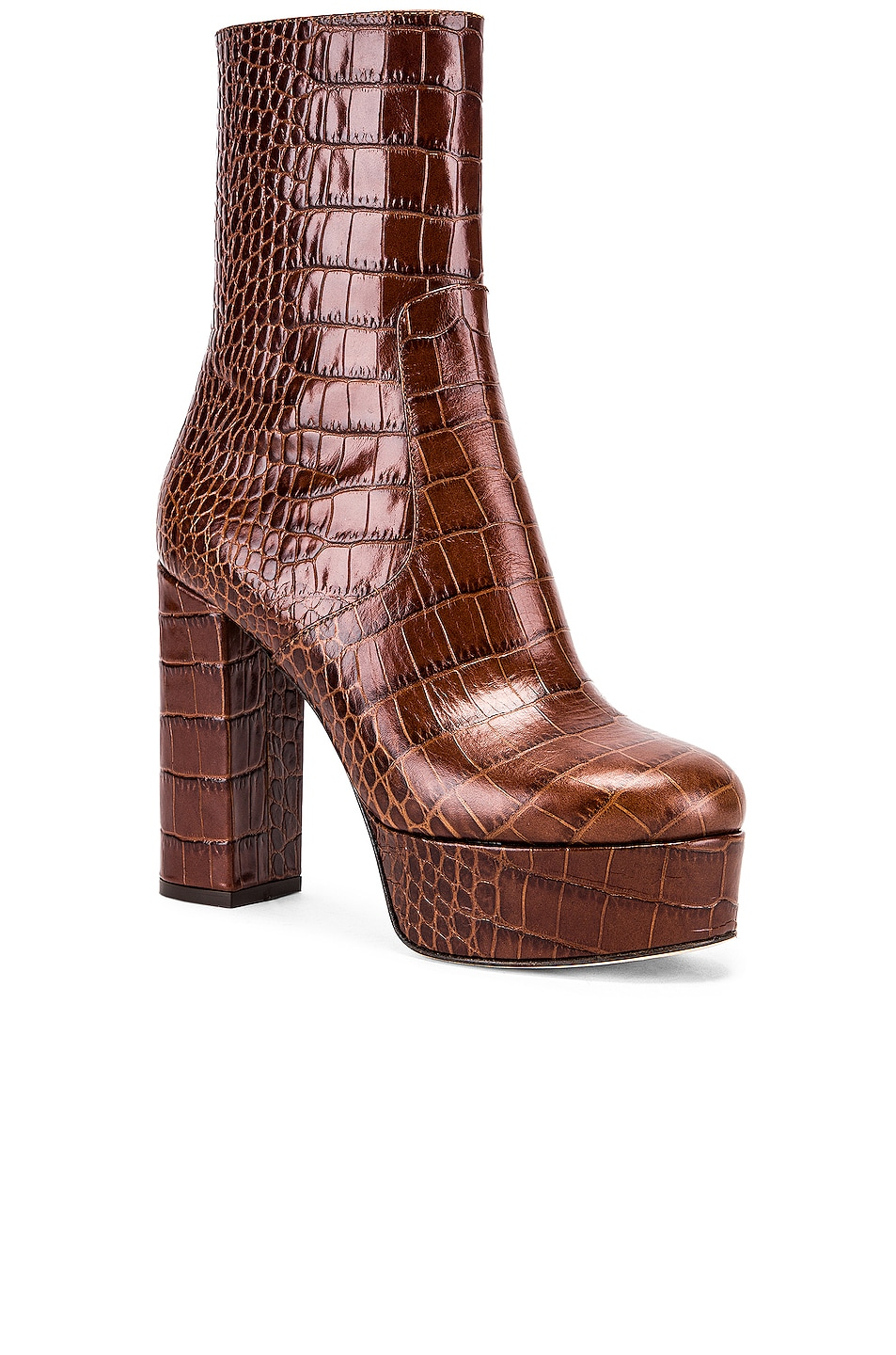 Image 2 of Paris Texas Moc Croco Platform Ankle Boots in Brown