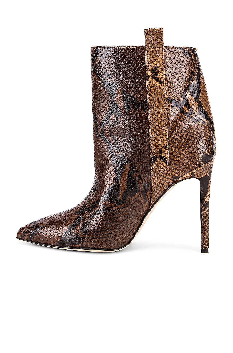 Image 5 of Paris Texas Snake Print Ankle Boot in Brown & Camel