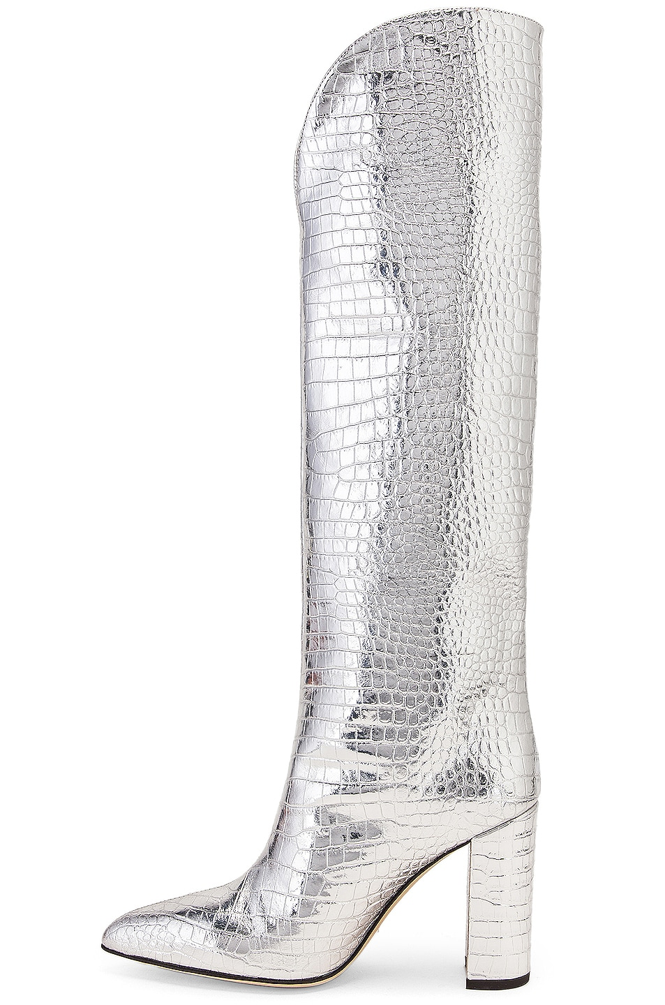 Image 5 of Paris Texas Metallic Croco High Boot in Silver