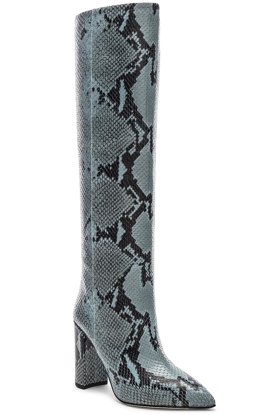 Image 2 of Paris Texas Knee High Python Print Boot in Jeans