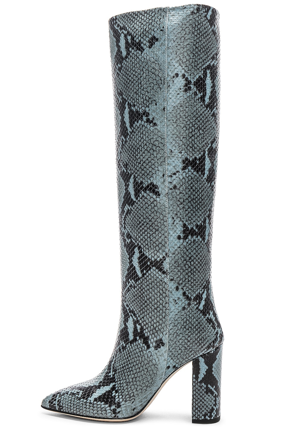 Image 5 of Paris Texas Knee High Python Print Boot in Jeans