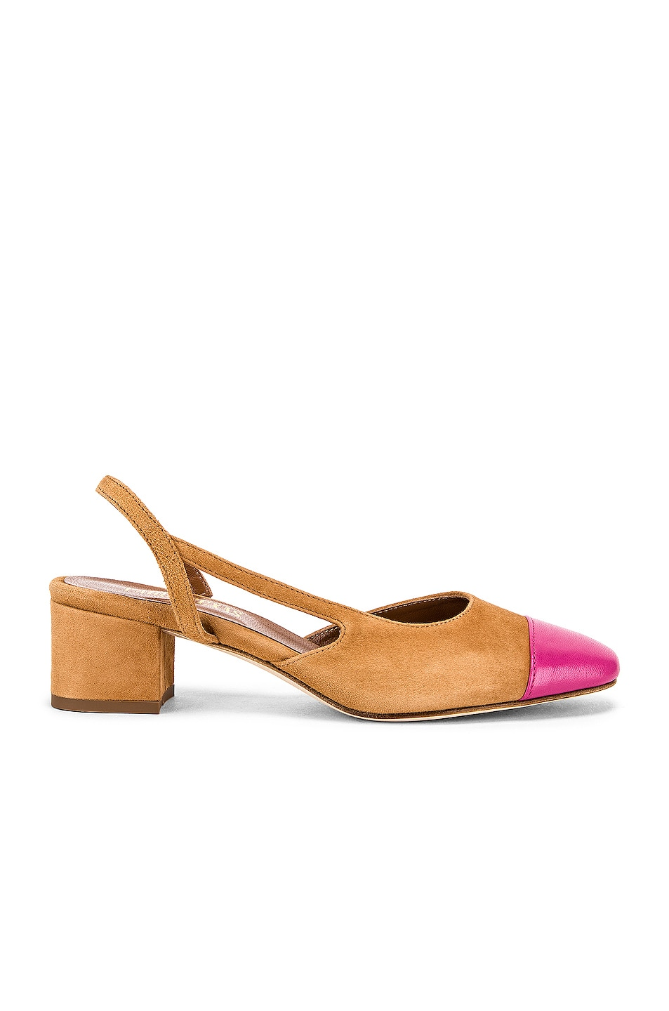 Image 1 of Paris Texas Suede Sling Back in Tan & Pink