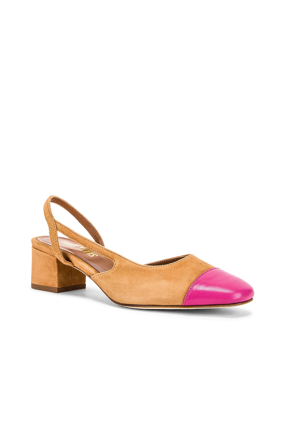 Image 2 of Paris Texas Suede Sling Back in Tan & Pink