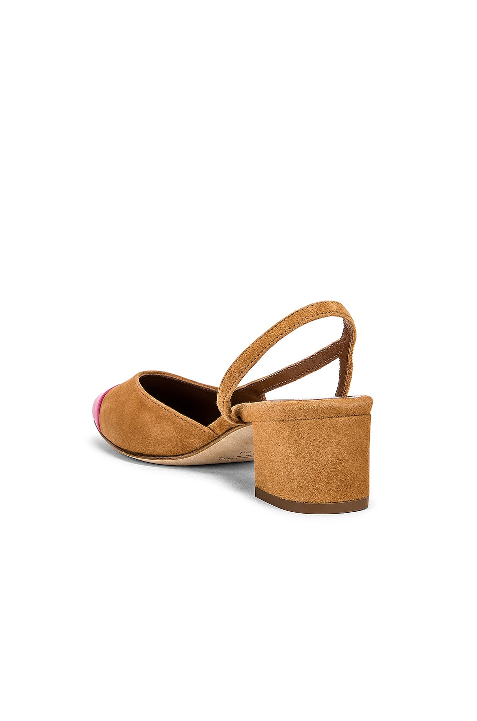 Image 3 of Paris Texas Suede Sling Back in Tan & Pink