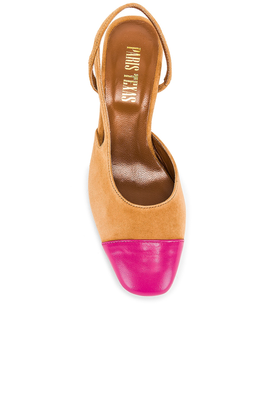 Image 4 of Paris Texas Suede Sling Back in Tan & Pink