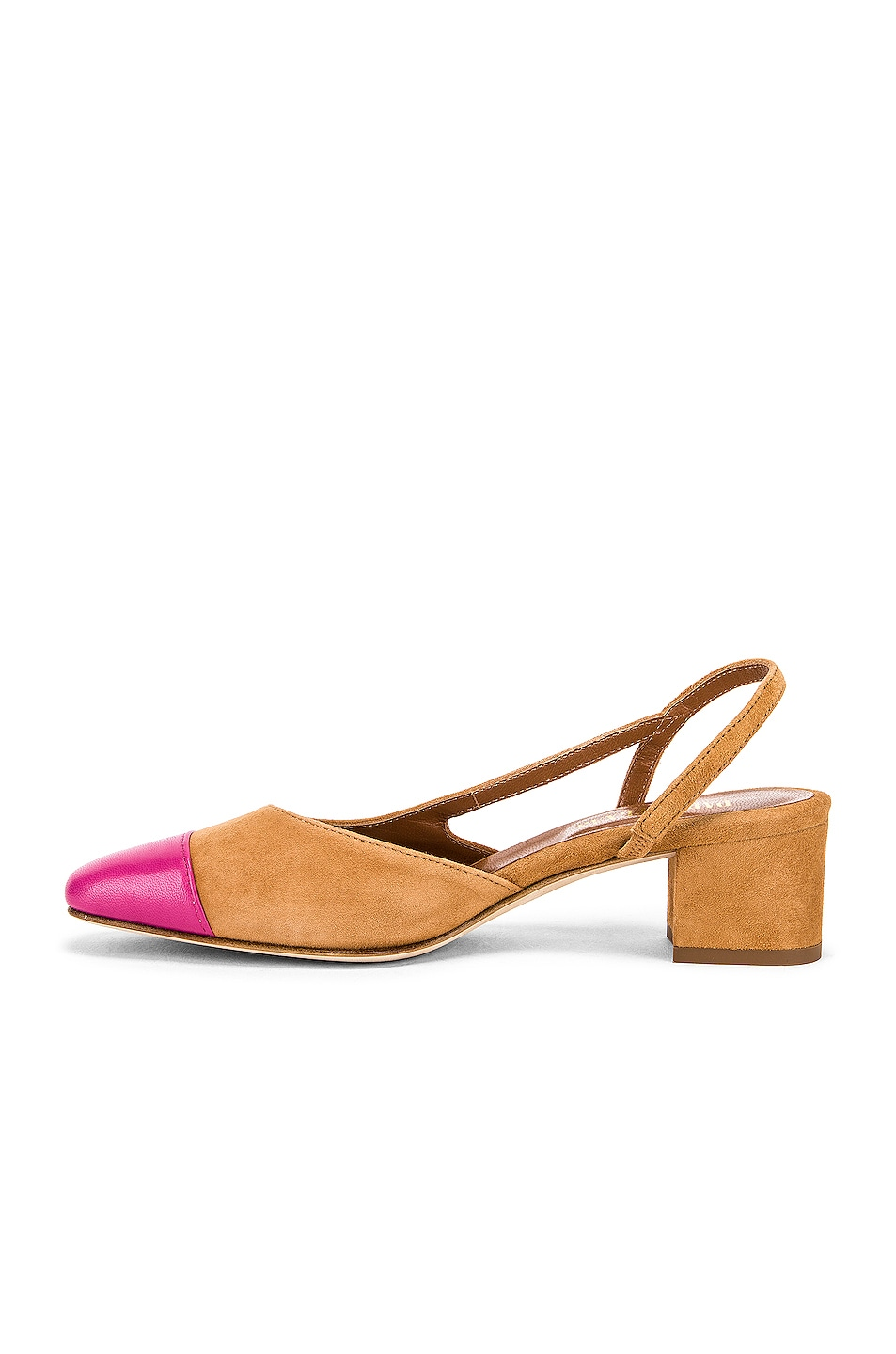 Image 5 of Paris Texas Suede Sling Back in Tan & Pink
