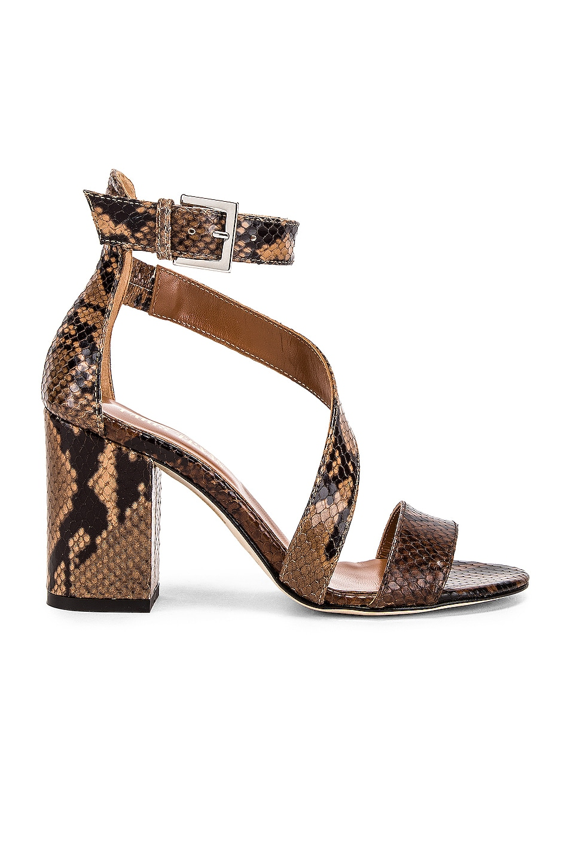 Image 1 of Paris Texas Diagonal Strap Snake 80 Sandal Heel in Brown & Nude
