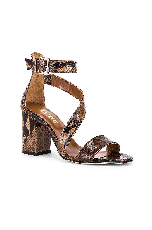 Image 2 of Paris Texas Diagonal Strap Snake 80 Sandal Heel in Brown & Nude