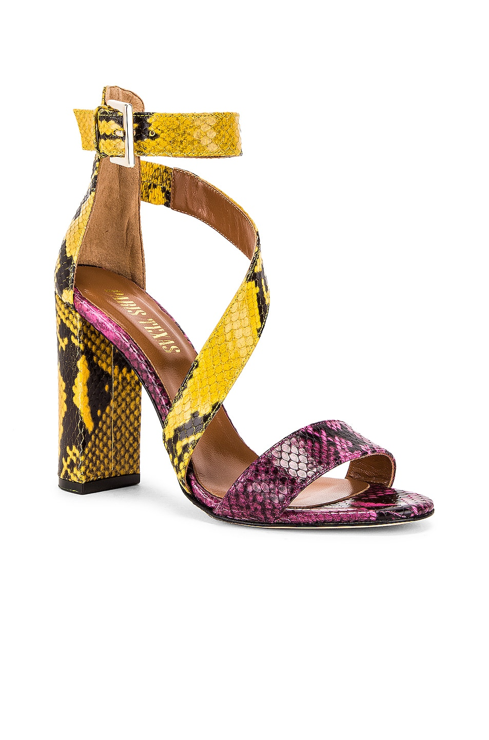 Image 2 of Paris Texas Diagonal Strap Snake 100 Sandal Heel in Fuchsia & Yellow